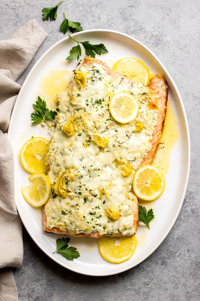 spinach artichoke salmon