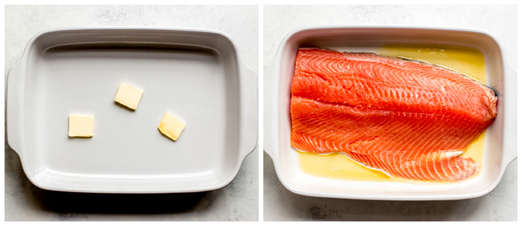 salmon in baking dish with melted butter