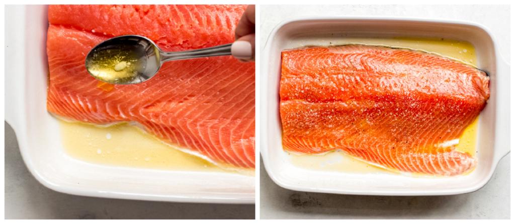 salmon in a baking dish
