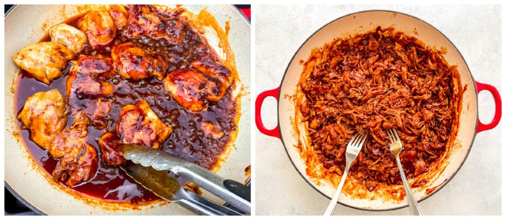 shredded BBQ chicken in a pan