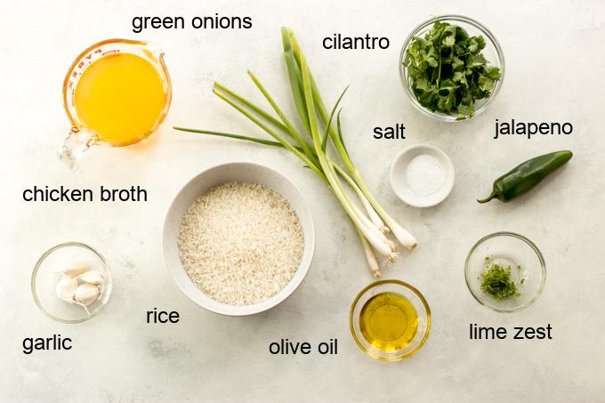 ingredients for cilantro rice