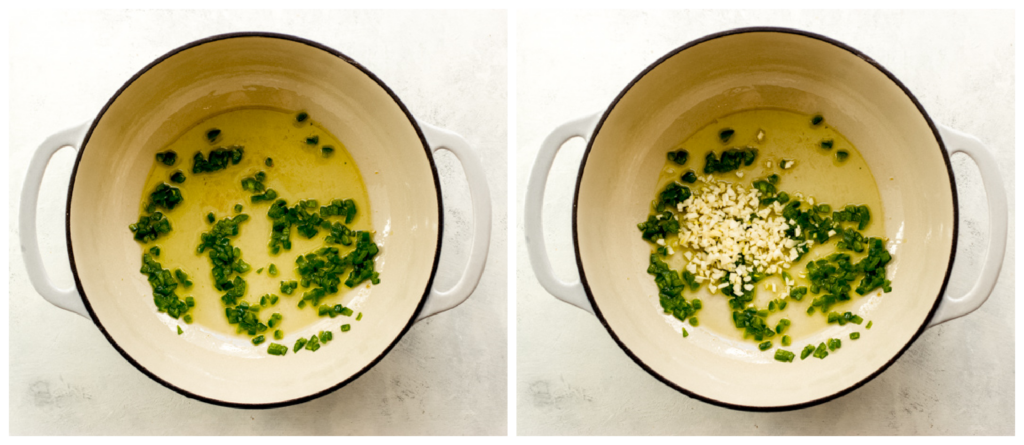 jalapeno and garlic in saucepan