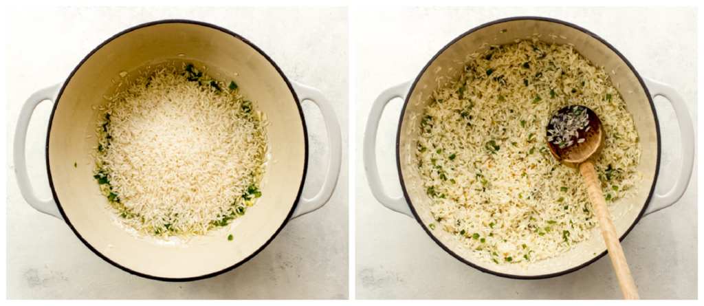 toasted rice in saucepan