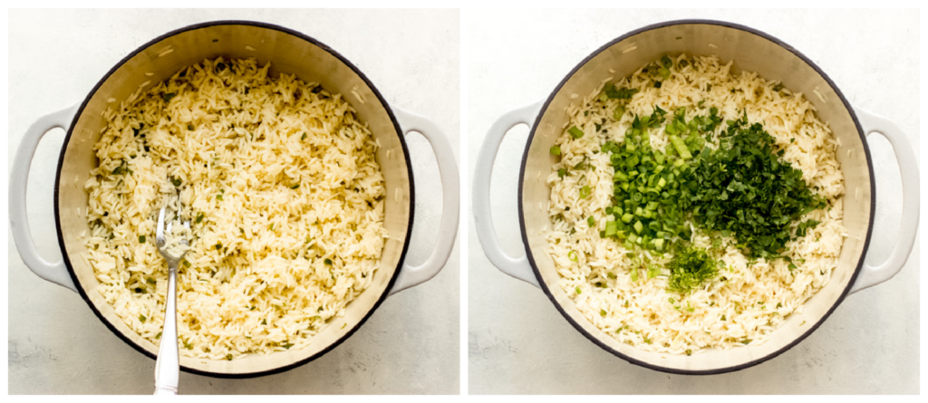 cooked rice with cilantro and green onions