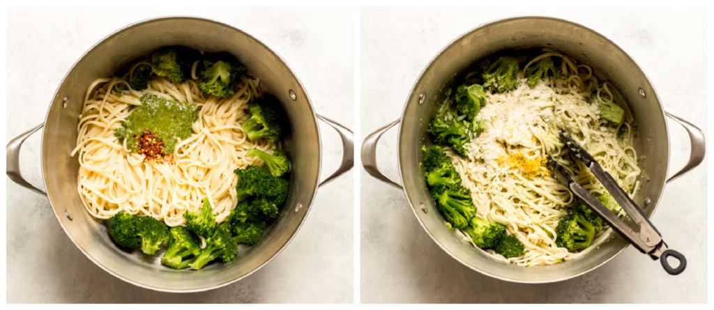 pasta with pesto in a pot