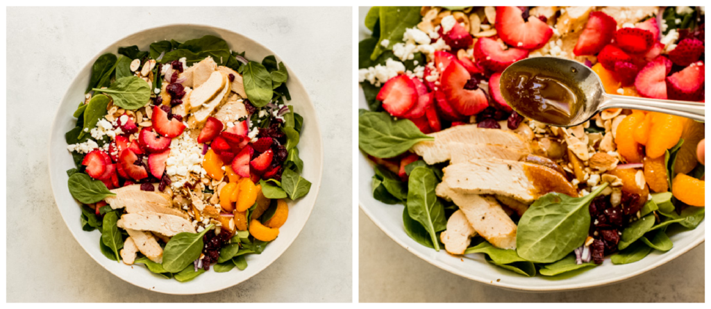 step by step on how to make strawberry spinach salad
