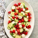 tomato cucumber salad with fresh mozzarella