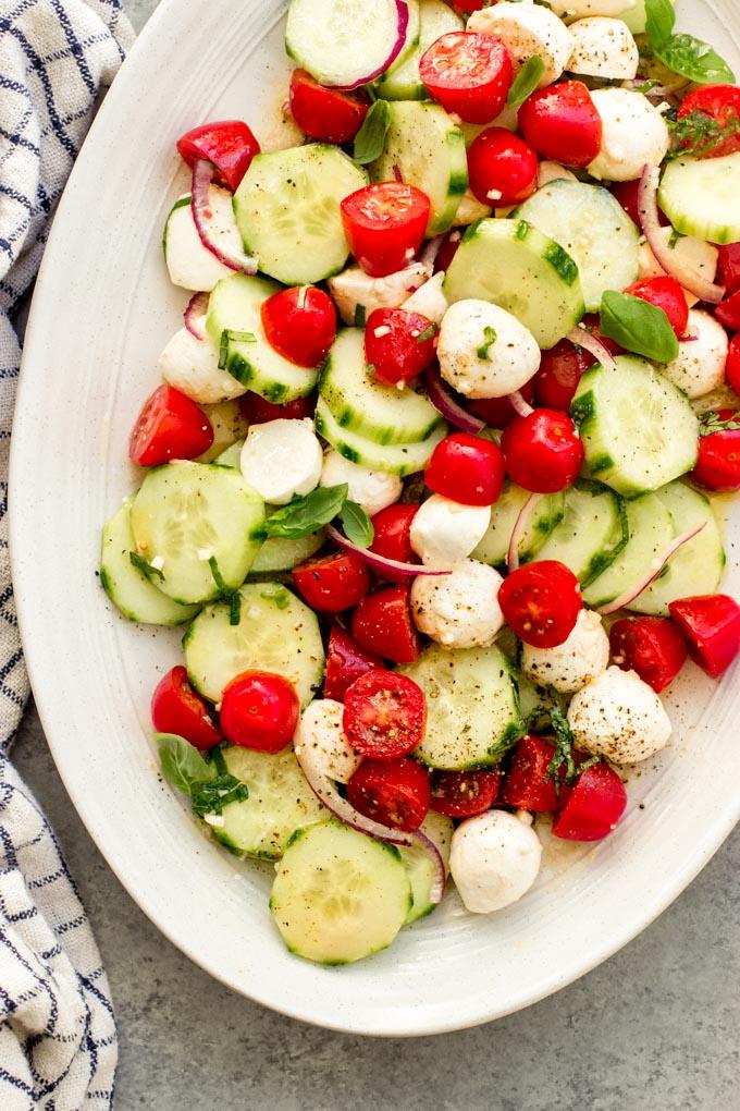cucumber tomato and mozzarella salad
