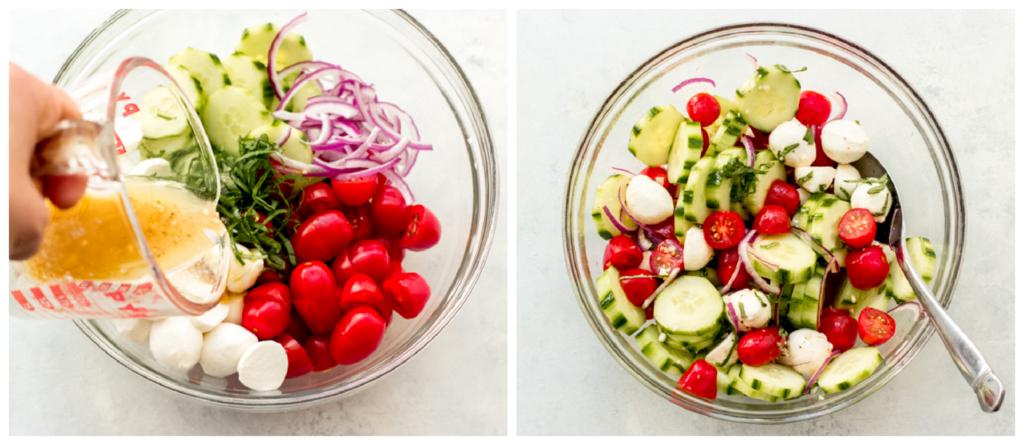 how to make cucumber tomato mozzarella salad