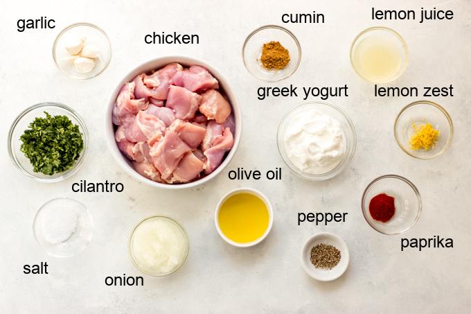 ingredients for yogurt marinated chicken kebobs