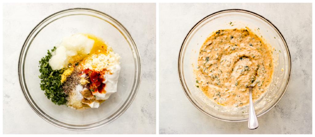 greek yogurt chicken marinade in a bowl