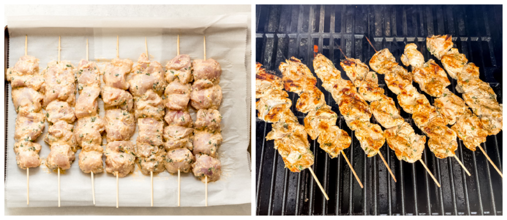 grilled chicken on skewers