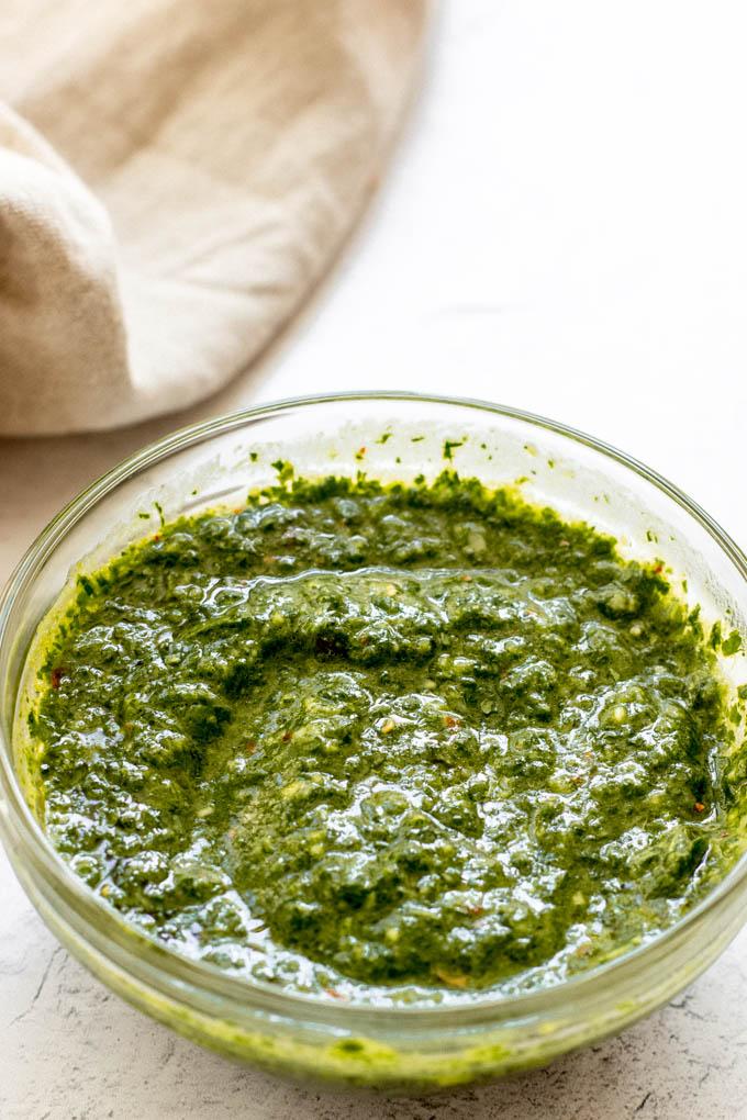 chimichurri sauce recipe in a bowl