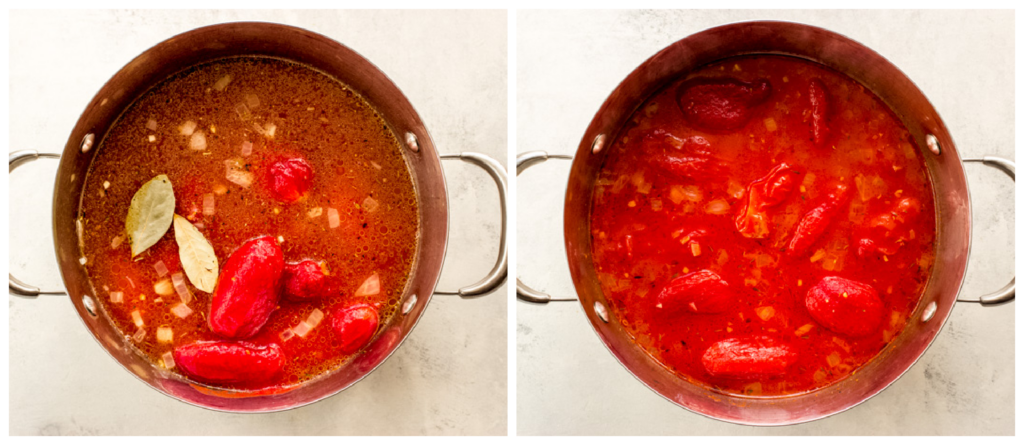 canned tomatoes in a pot