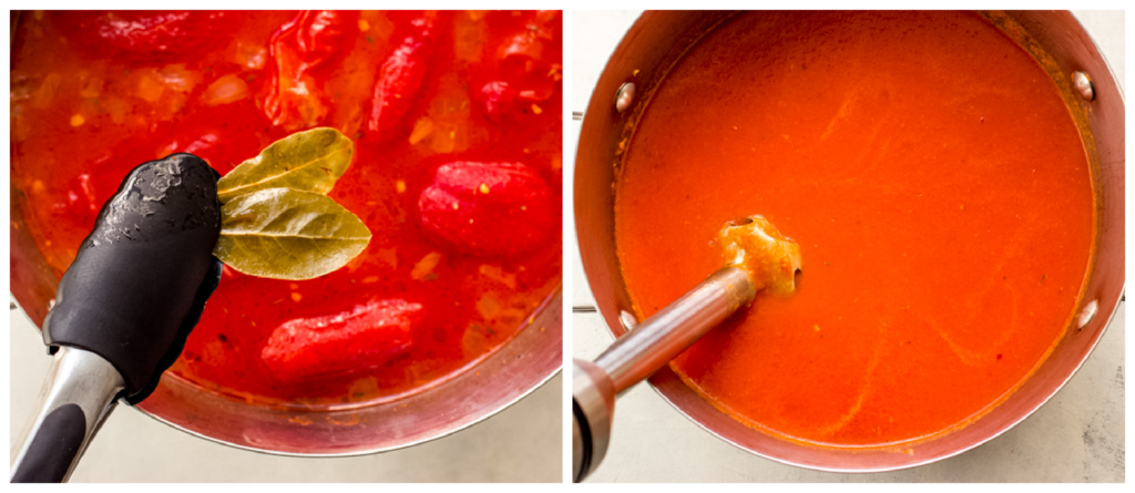 pureed tomato soup in a pot