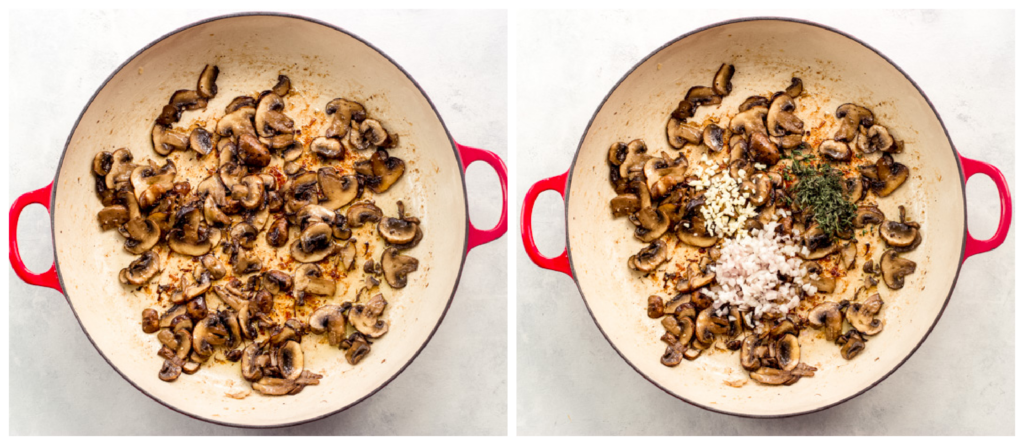 cooked mushrooms in a skillet