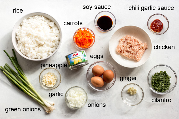 ingredients for pineapple fried rice