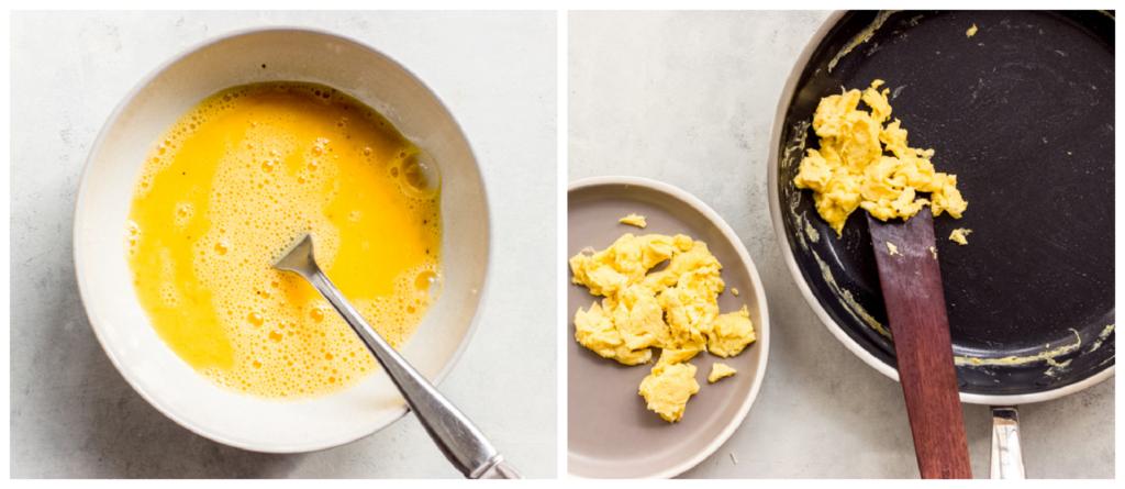 scrambled egg in a skillet
