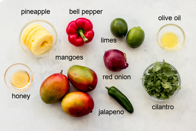 ingredients for pineapple mango salsa