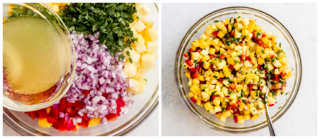 tossed pineapple mango salsa in a bowl
