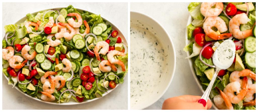 shrimp and avocado salad with dressing