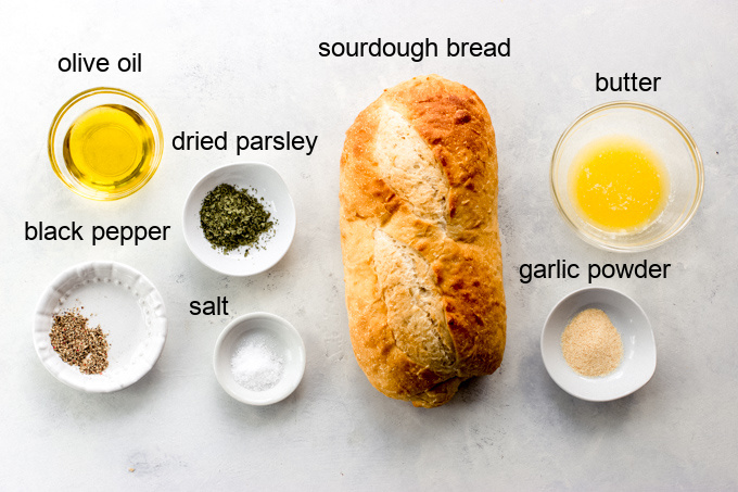 ingredients for sourdough croutons