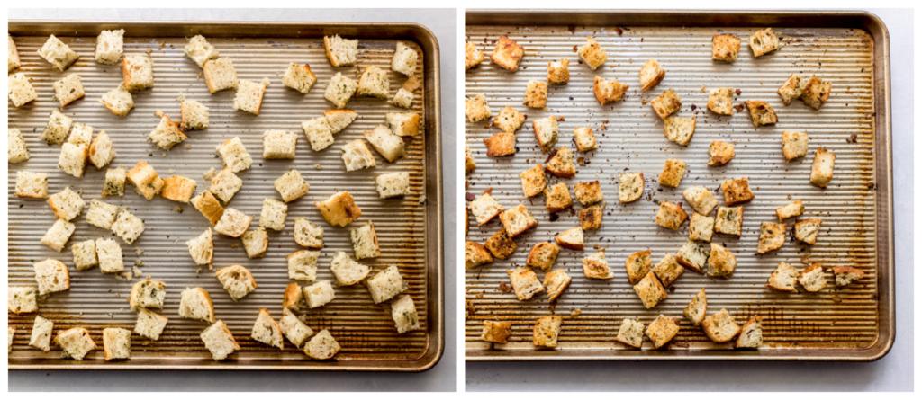 sourdough bread croutons on a baking sheet