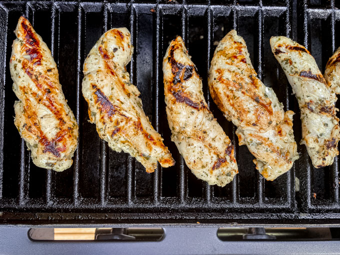 chicken tenders on a grill