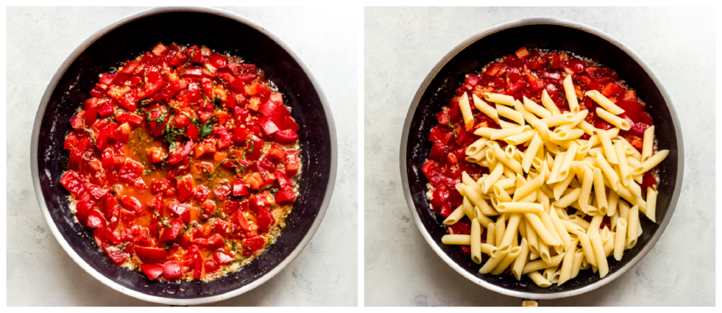 tomatoes with pasta in a skillet