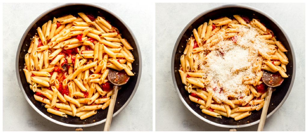 margarita pasta in a skillet