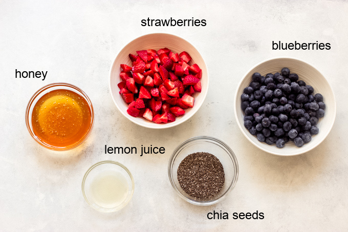 ingredients for strawberry and blueberry jam recipe