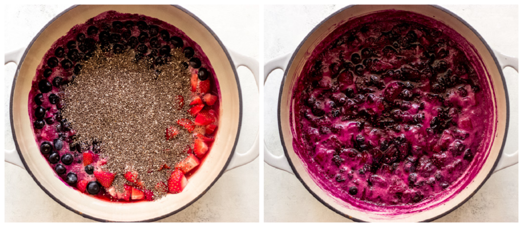cooked berries with chia seeds in saucepan