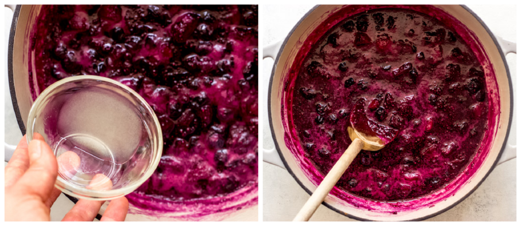 cooked berry jam in a saucepan