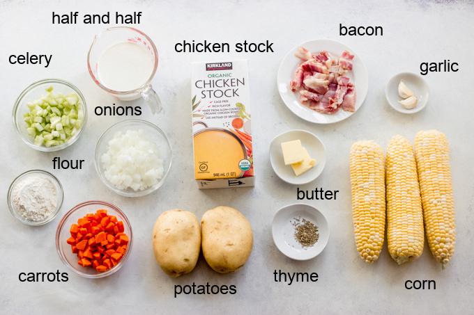 ingredients for potato corn chowder