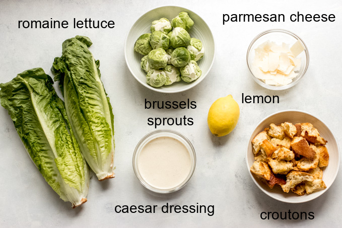 ingredients for brussels sprouts caesar salad