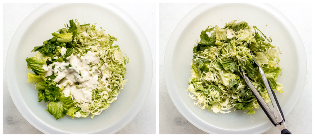 shredded brussels sprouts and romaine lettuce in a bowl