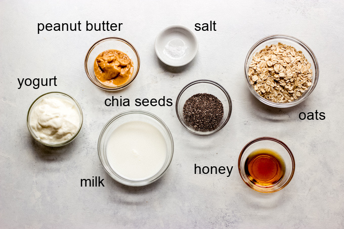 ingredients for peanut butter banana overnight oats