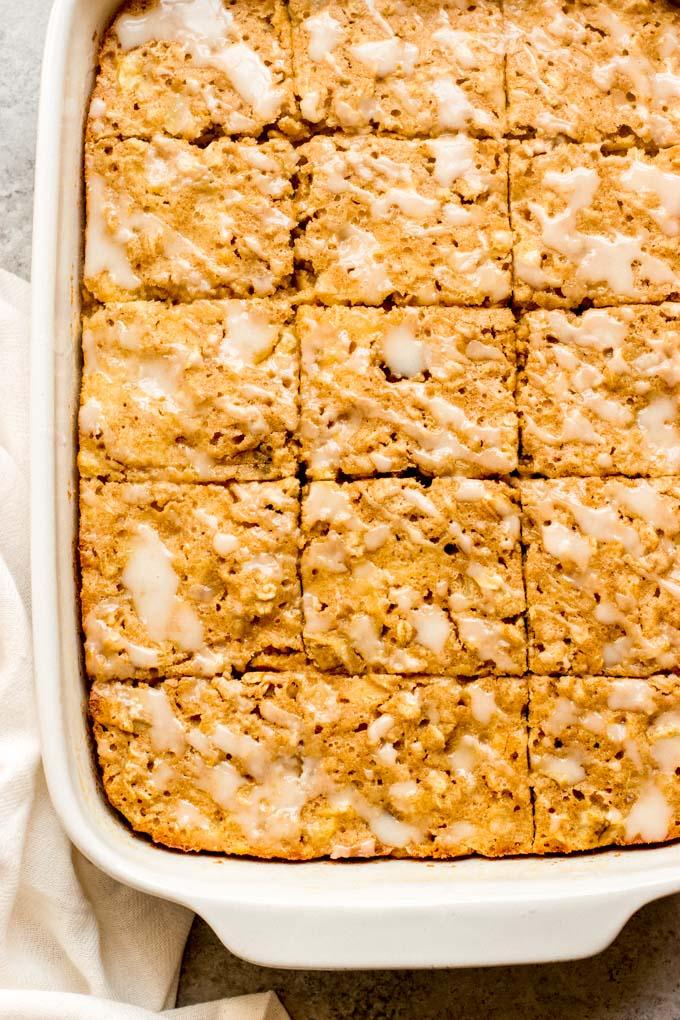 close up banana oatmeal bars recipe