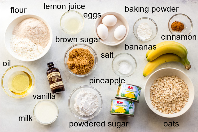 ingredients for banana oatmeal bars