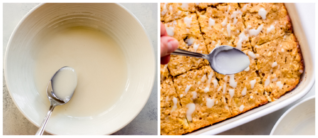 glazed oatmeal bars in a baking pan