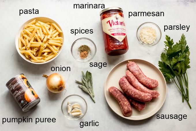 ingredients for pumpkin sausage pasta