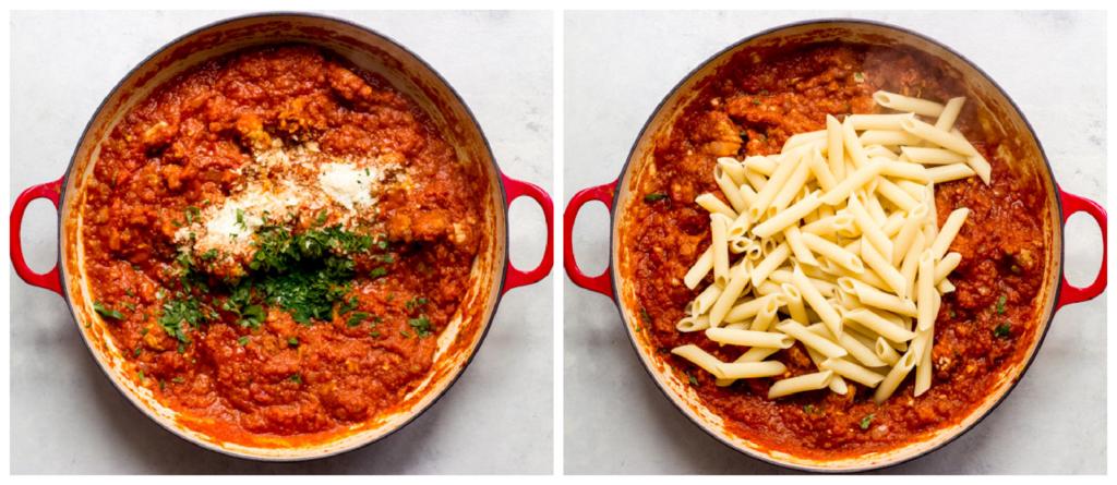 pumpkin sausage pasta recipe in a skillet