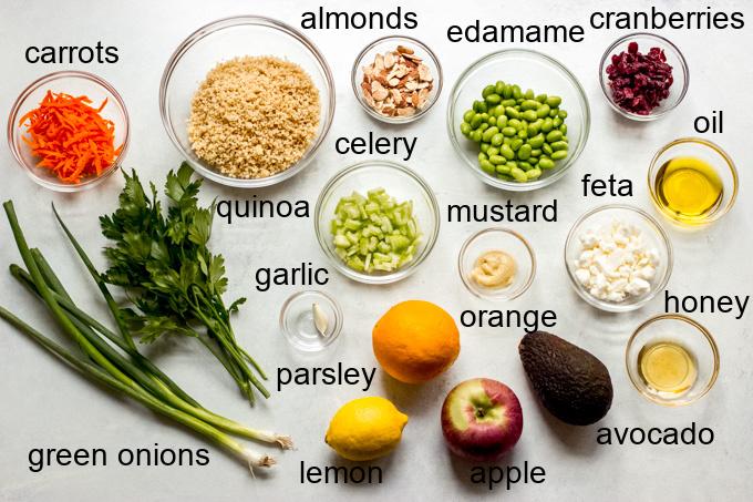 ingredients for quinoa apple salad